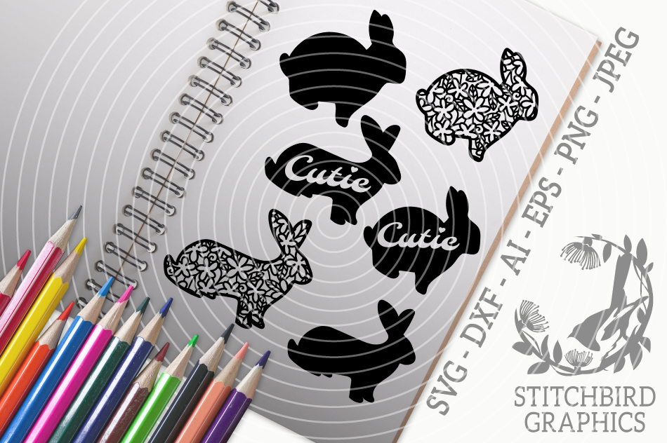 Spring Bunnies Svg Silhouette Studio Cricut Eps Dxf Png By