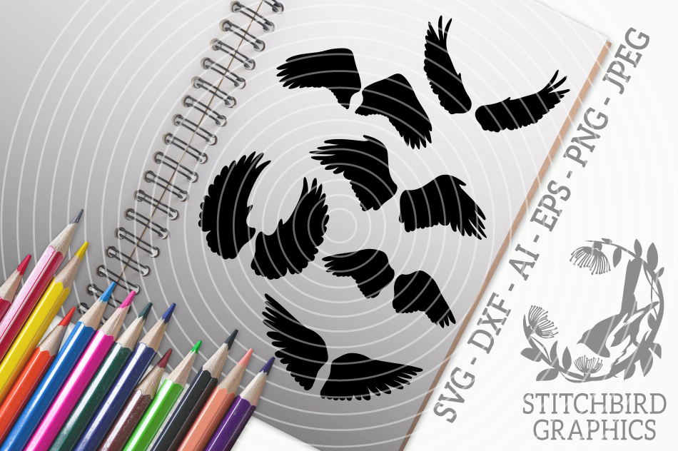 Angel Wings Bundle Svg Silhouette Studio Cricut Eps Jpeg By