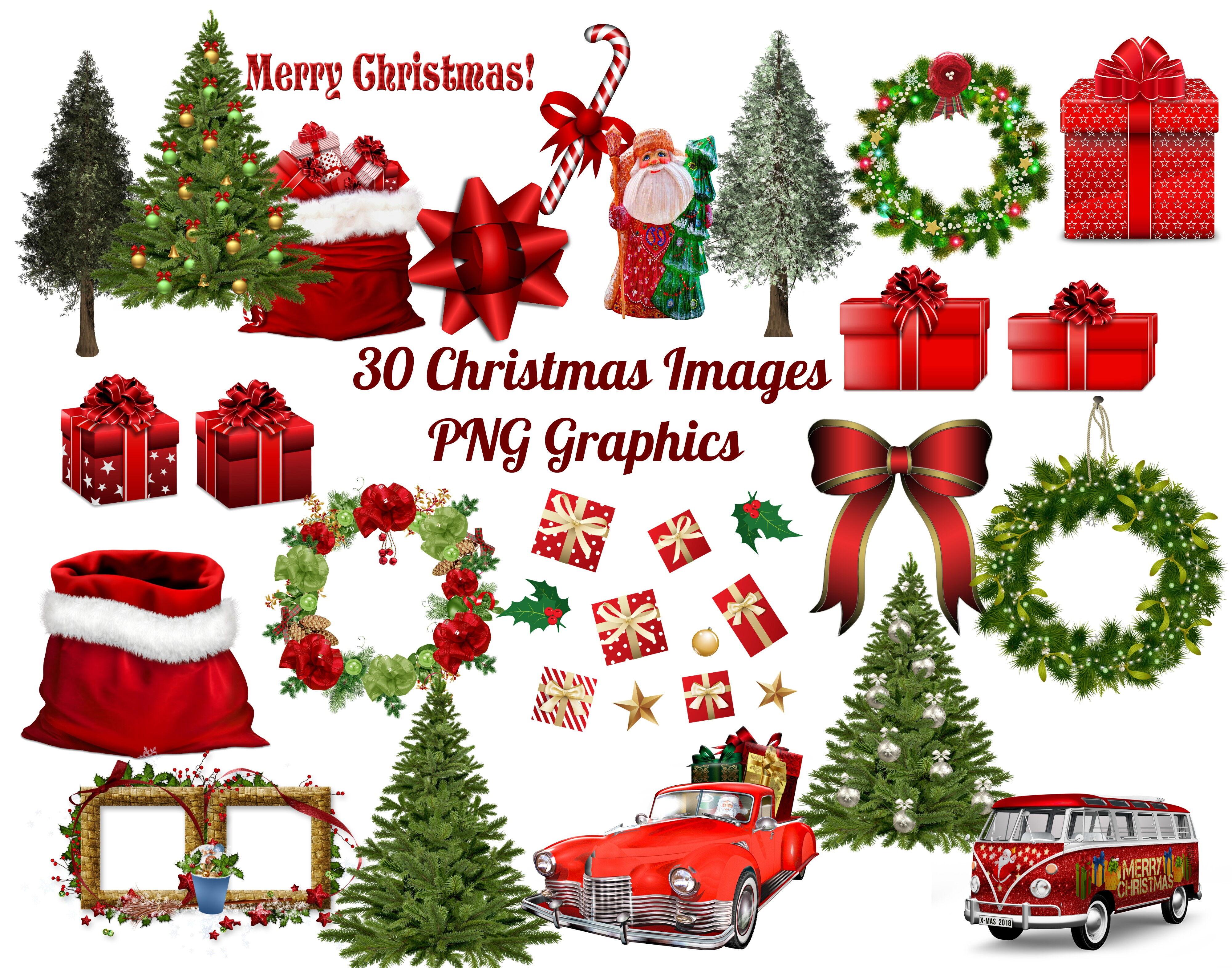 30 Christmas Clip Art Images Png Bundle By Scrapbook Attic Studio