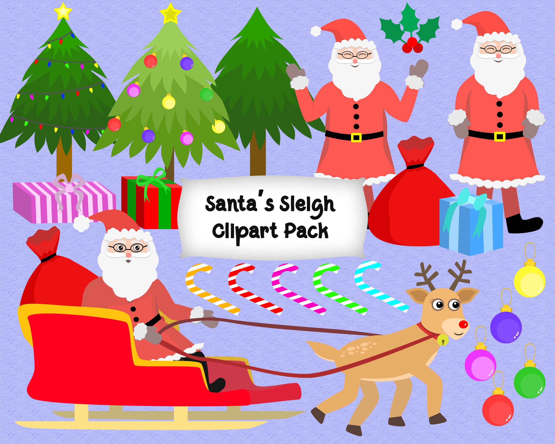 Santa Sleigh Clipart Pack By Mrn Digishop Thehungryjpeg Com