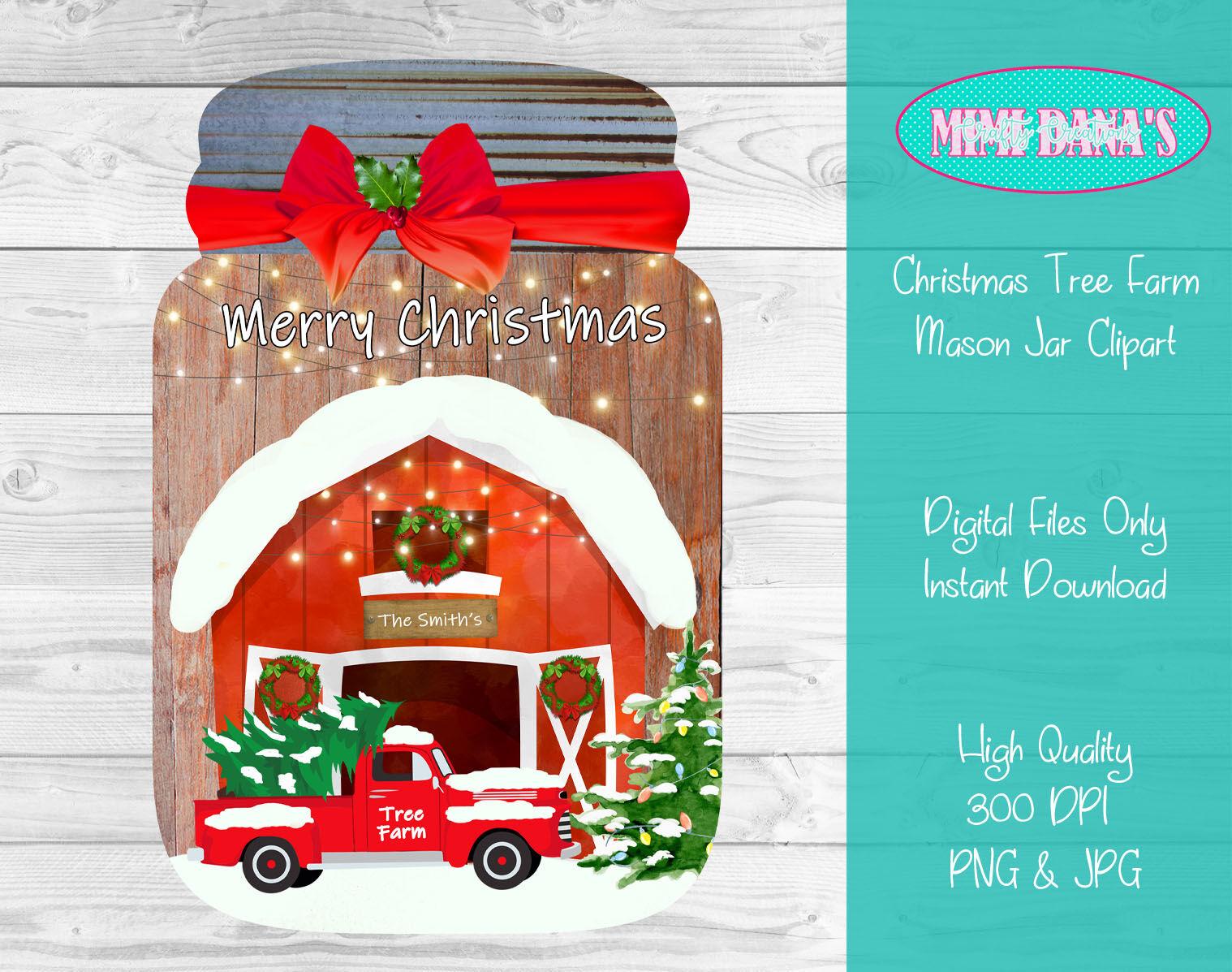 Christmas Tree Farm Mason Jar Door Hanger Clipart By Mimi Dana S