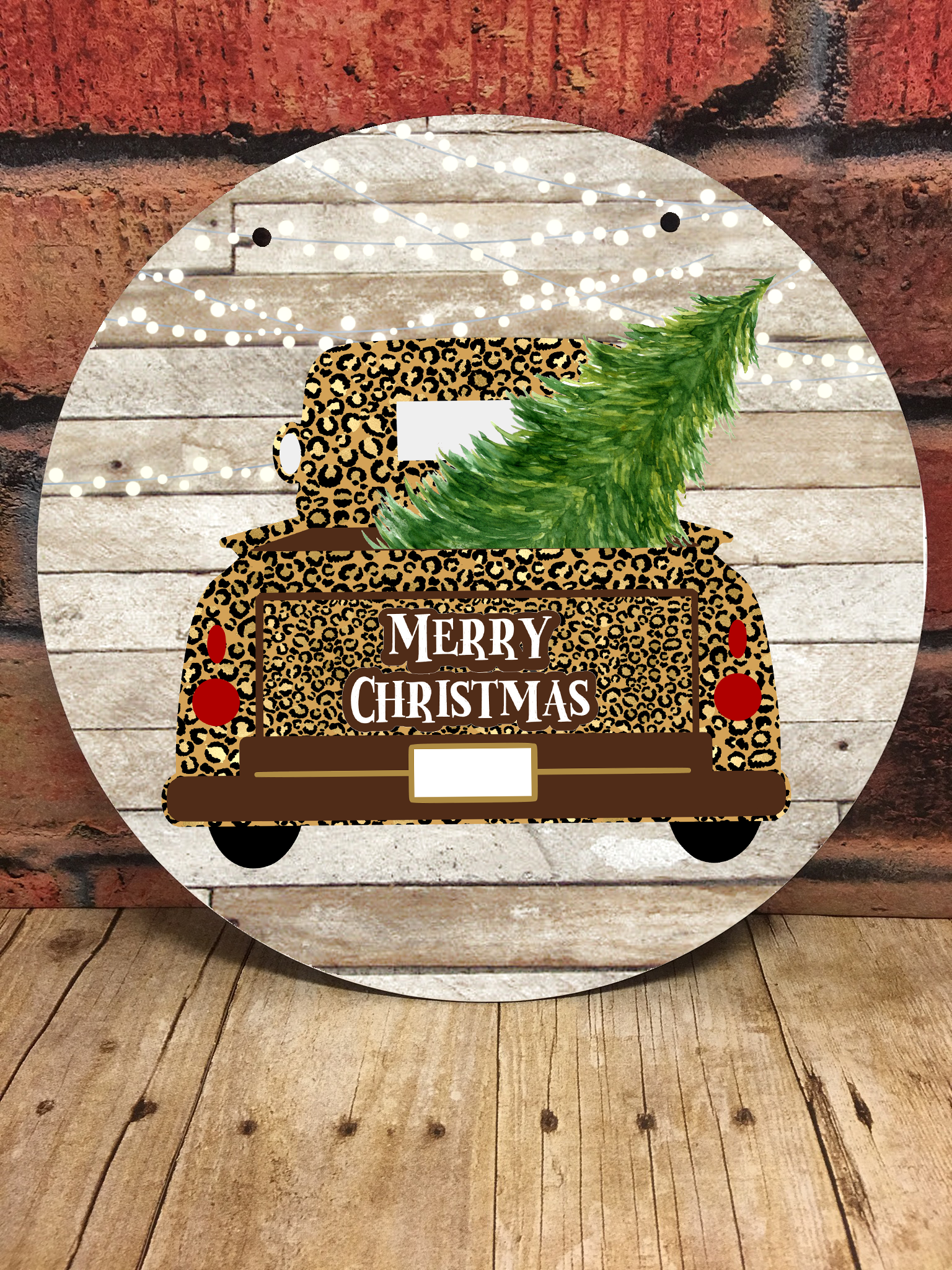 Leopard Print Christmas Truck Clipart For Round Door