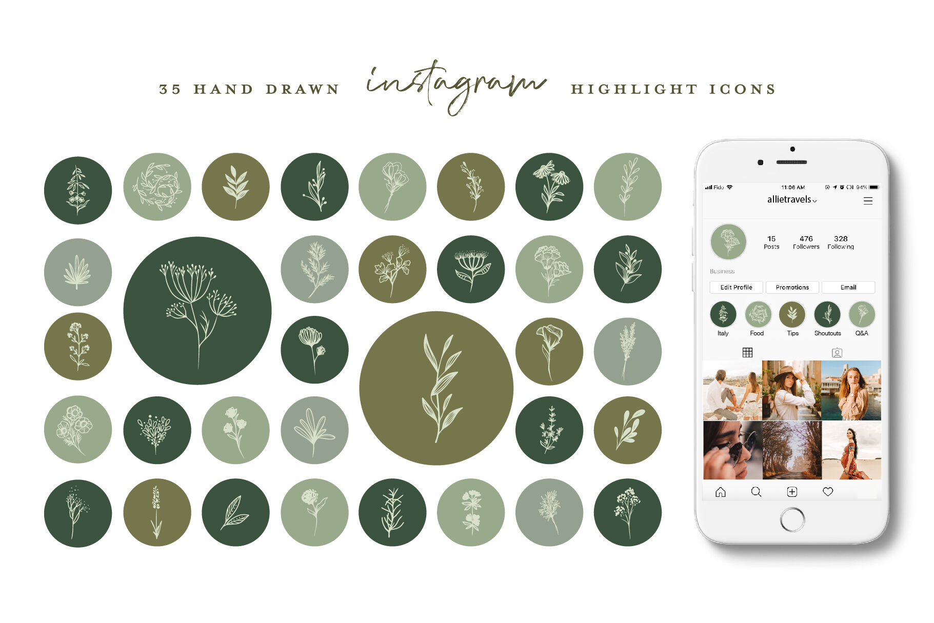 Botanical Instagram Highlight Icons By Beatrice Avenue