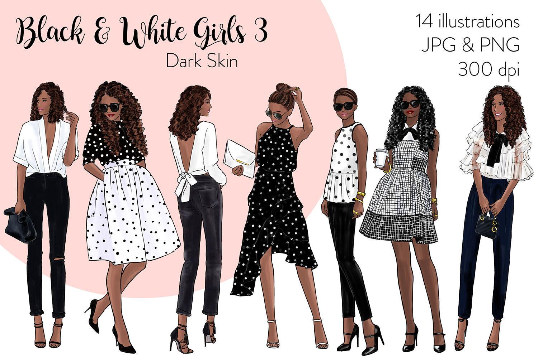 Watercolor Fashion Clipart Black White Girls 3 Dark Skin By Parinaz Wadia Design Thehungryjpeg Com