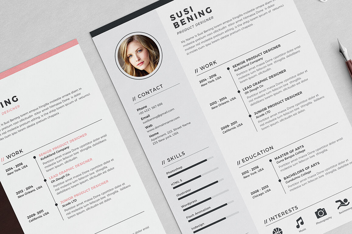 susi resume template by blanca creative lab