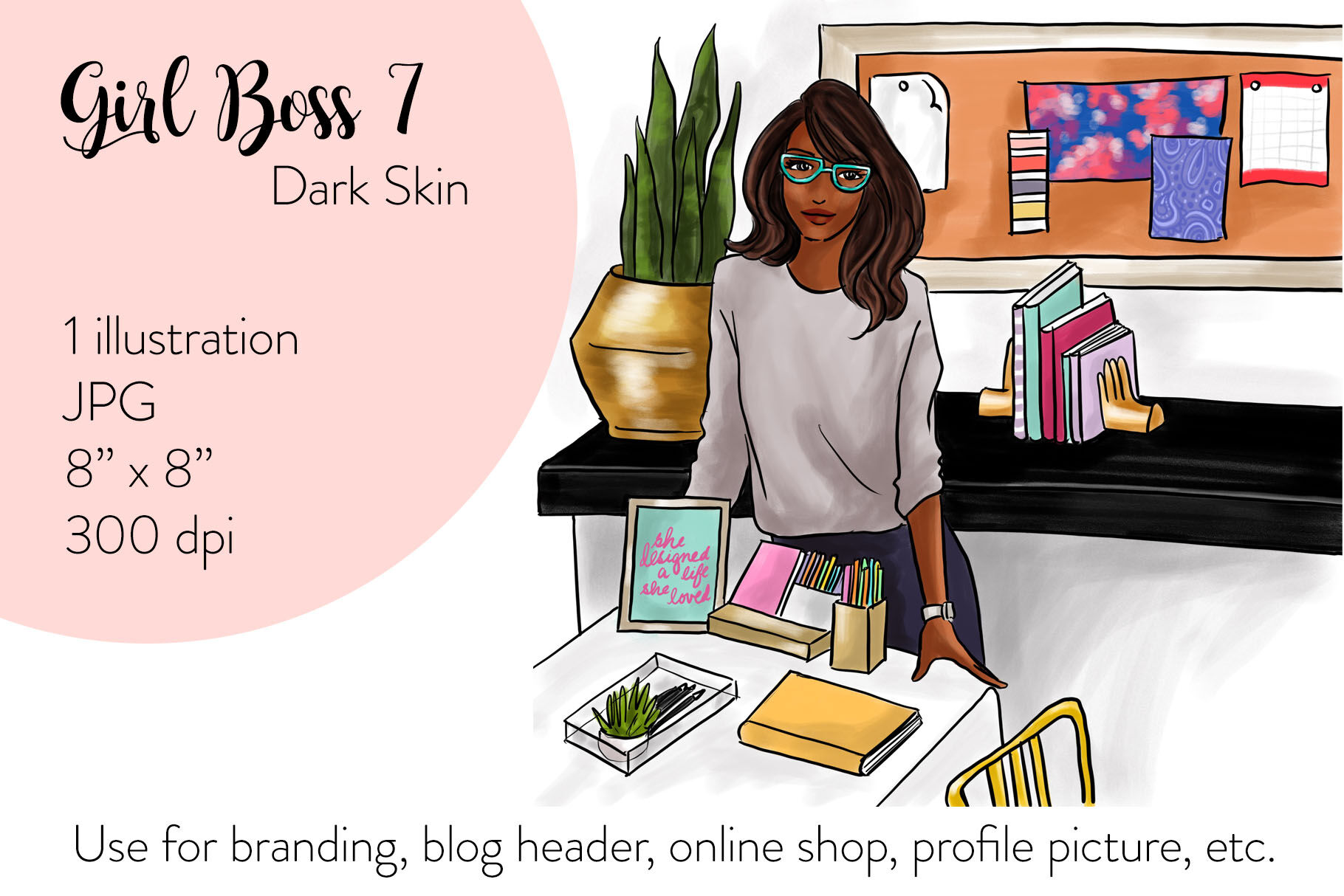 Watercolor Fashion Illustration Girl Boss 7 Dark Skin By