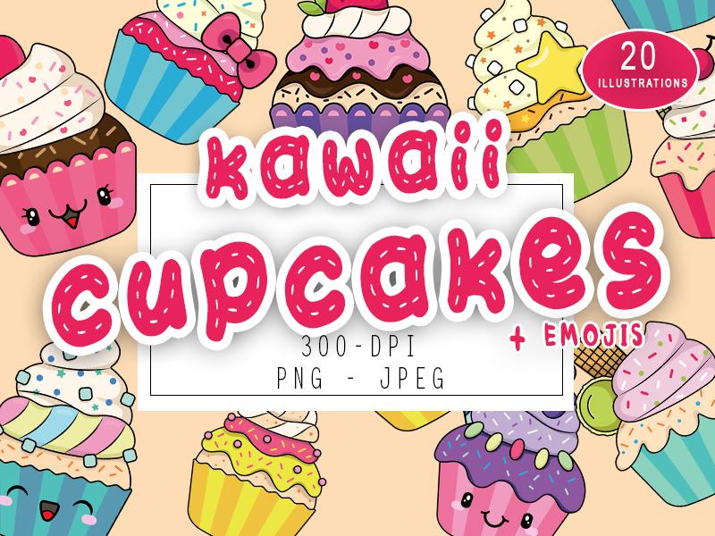 Cute Kawaii Cupcakes Set Collection Cupcakes Kawaii Emojis By