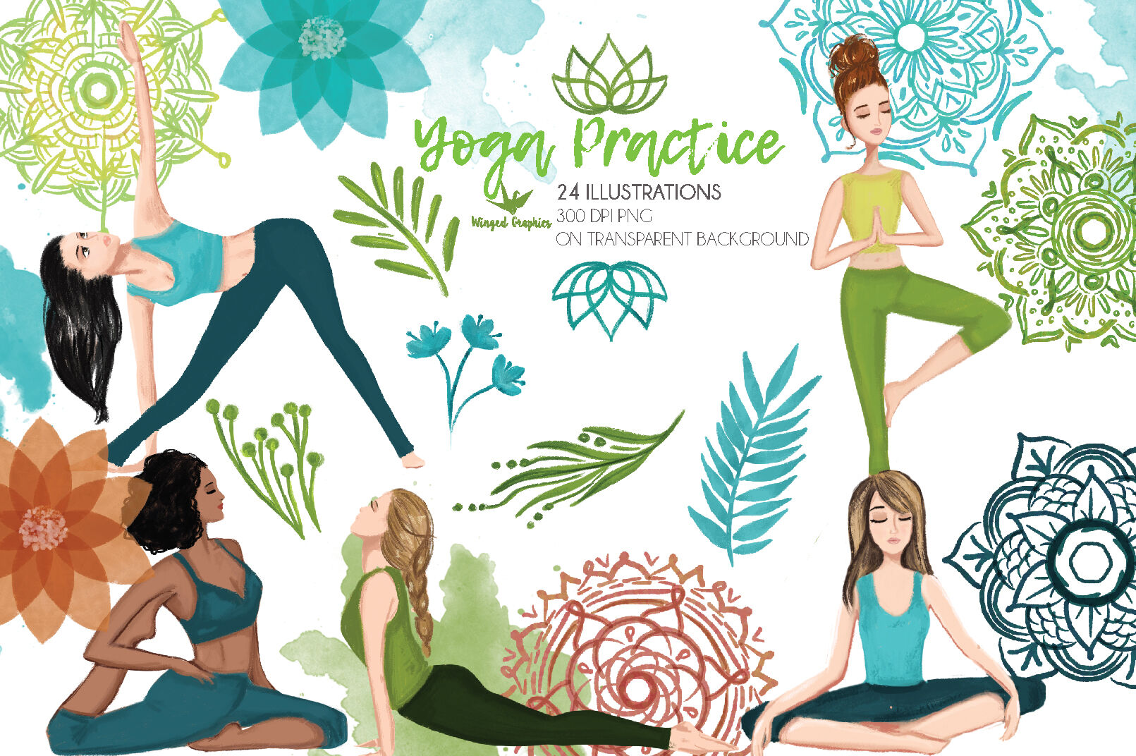 Yoga Practice Set Of 24 Illustrations 300 Dpi Png On Transparent Bac By Winged Graphics Thehungryjpeg Com