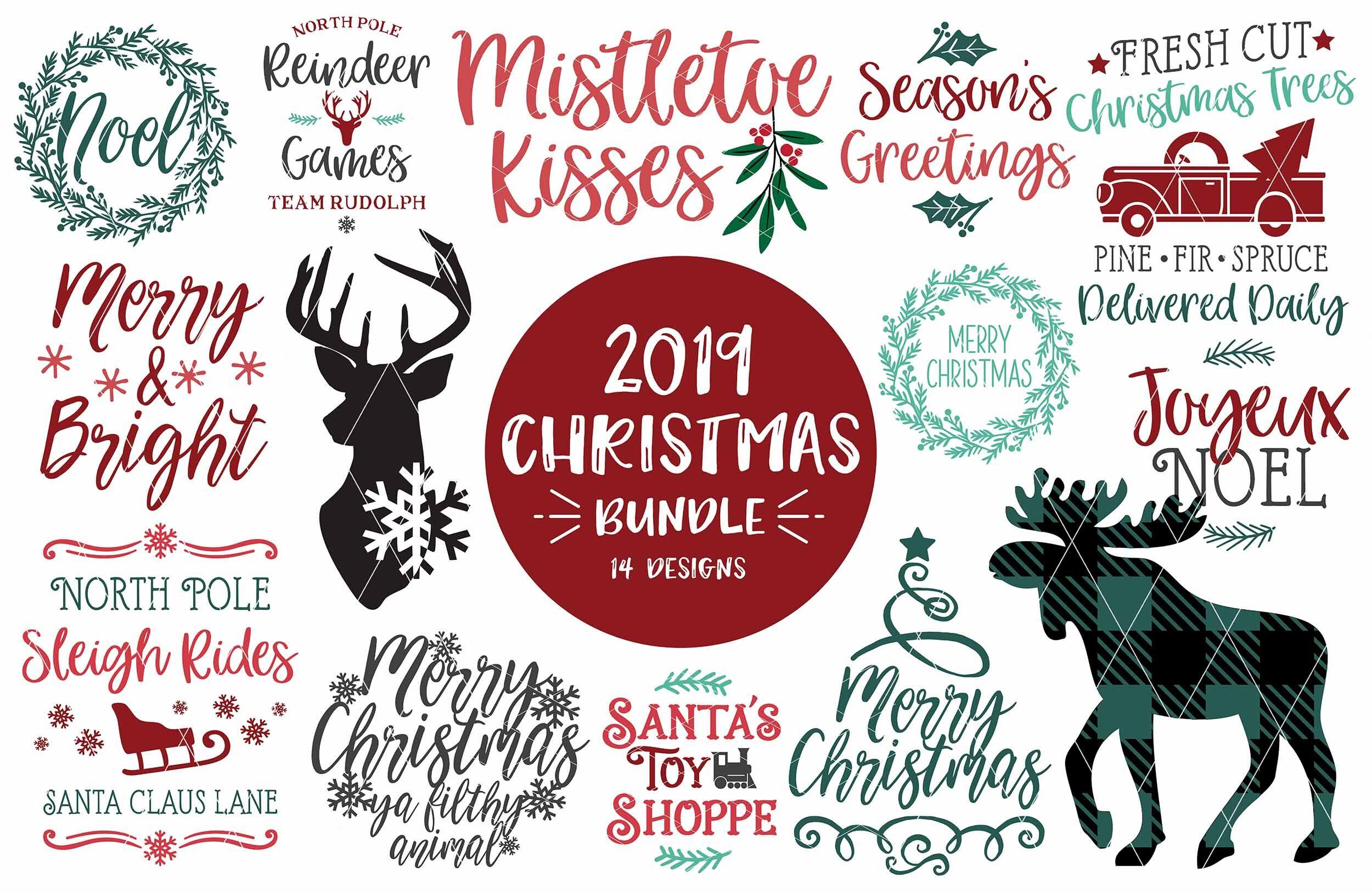 Christmas Svg Bundle 2019 Dxf Png 14 Designs By Svgbundlesco