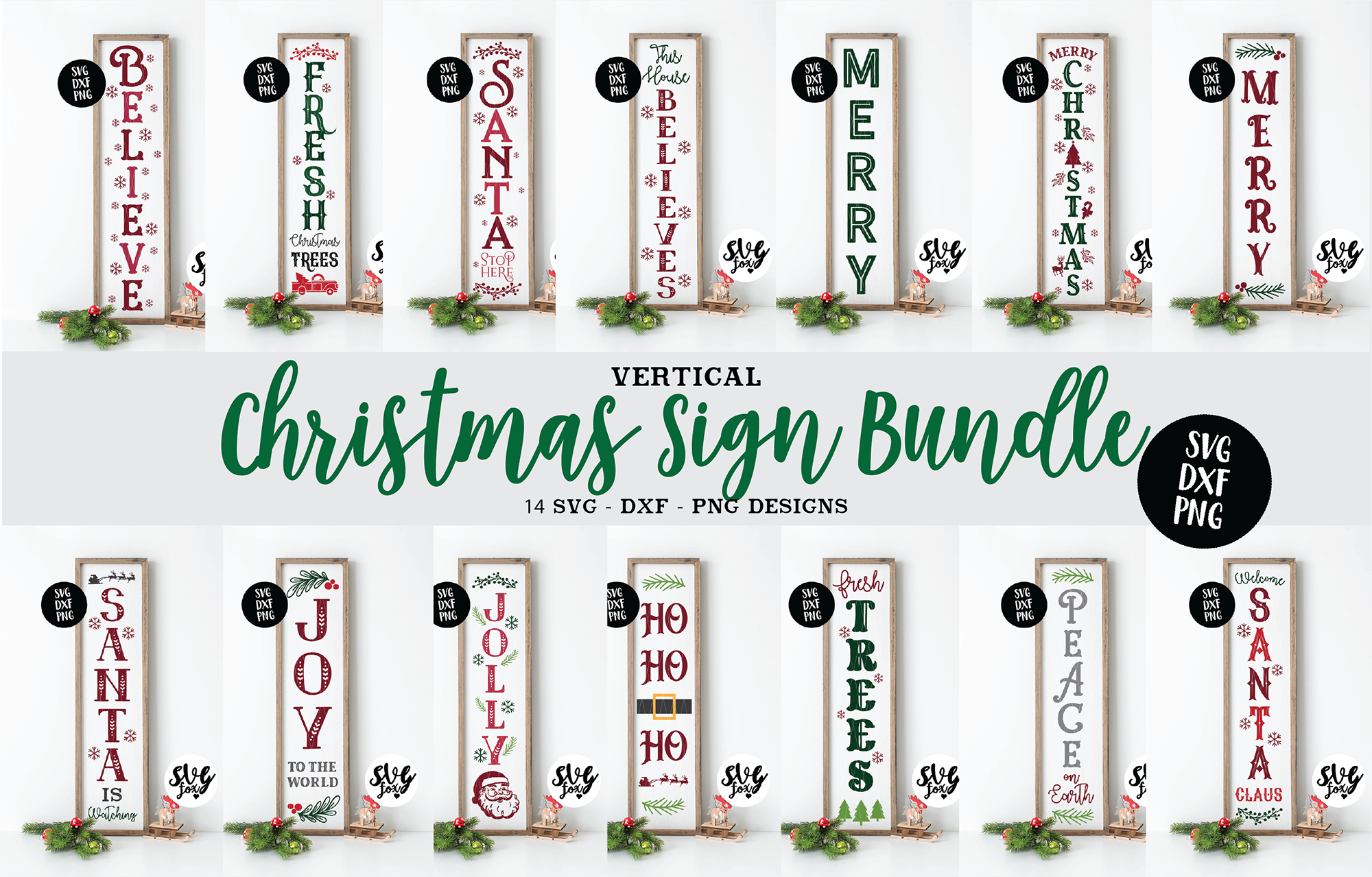 Christmas Vertical Sign Bundle Svg Dxf Png Farmhouse Style By