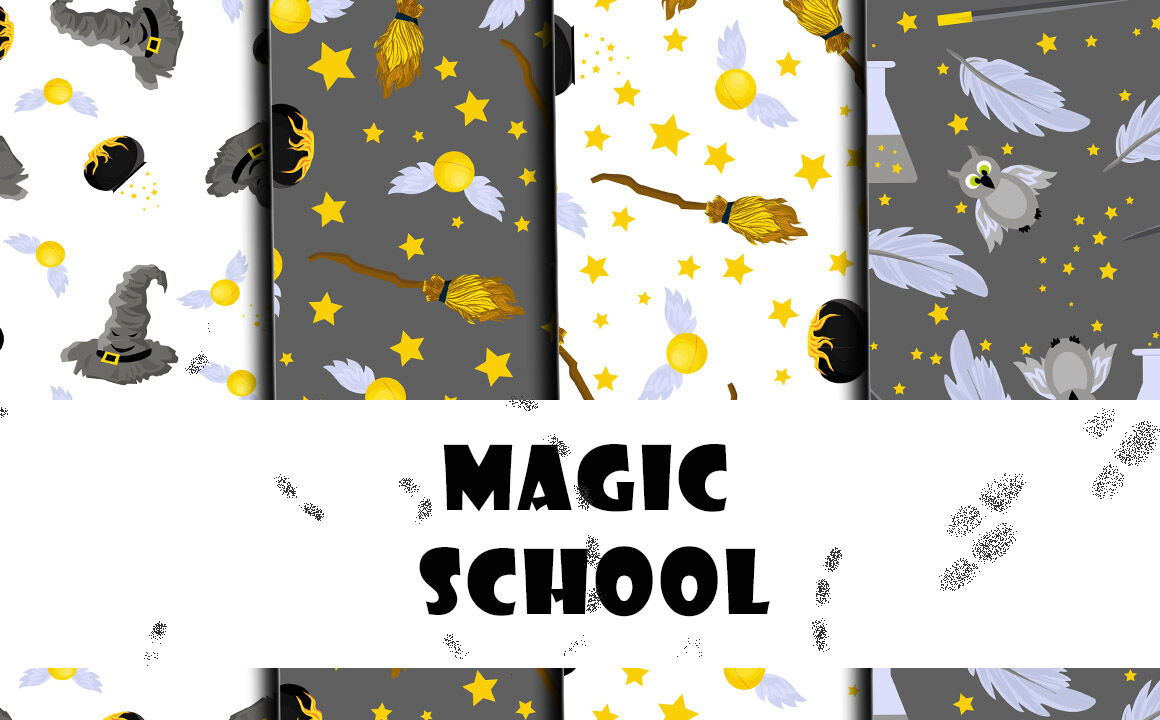 School Of Magic Pattern Set Theme Harry Potter Hogwarts By