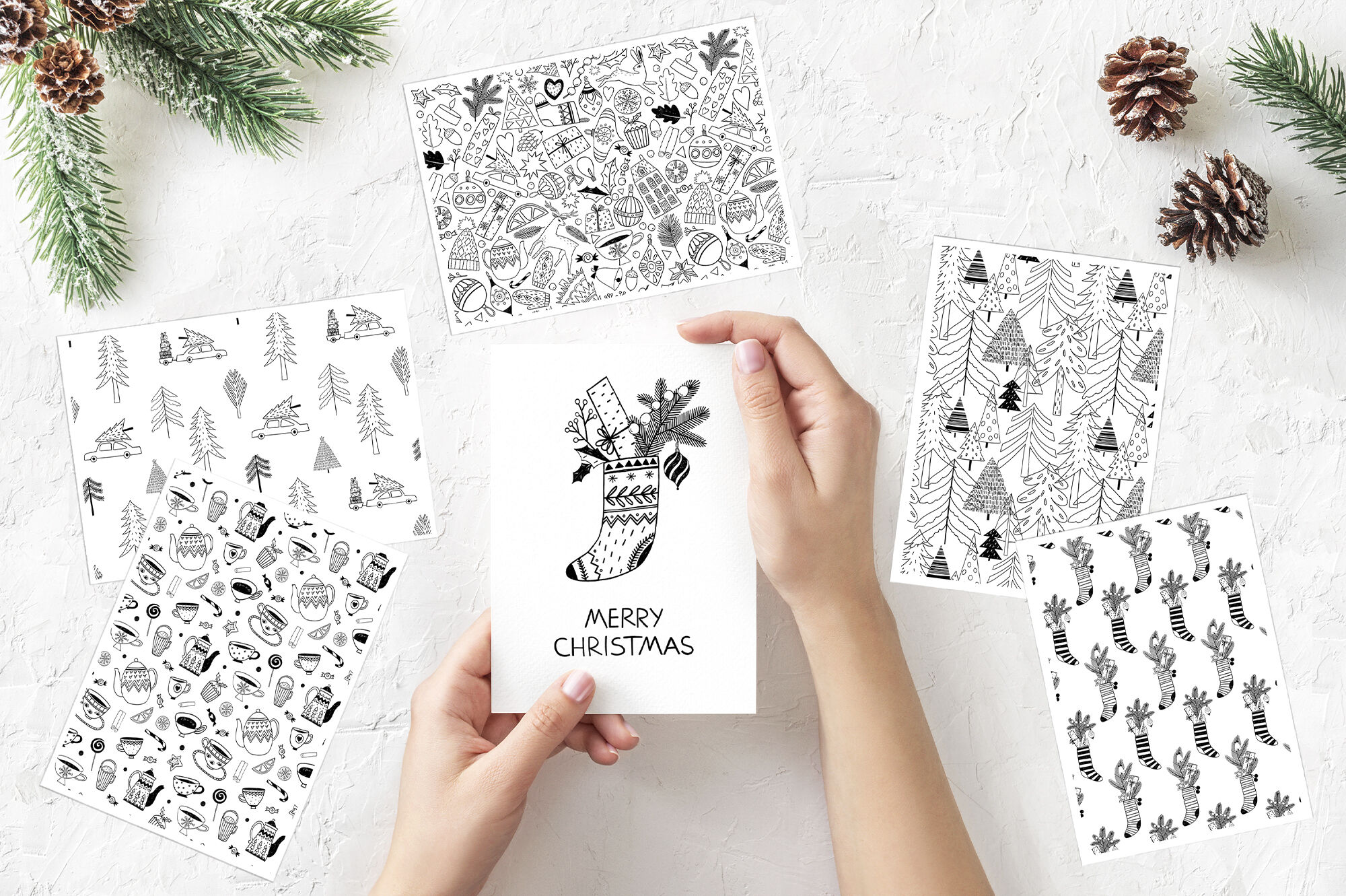Christmas Monochrome Seamless Patterns By Tanya Cherry