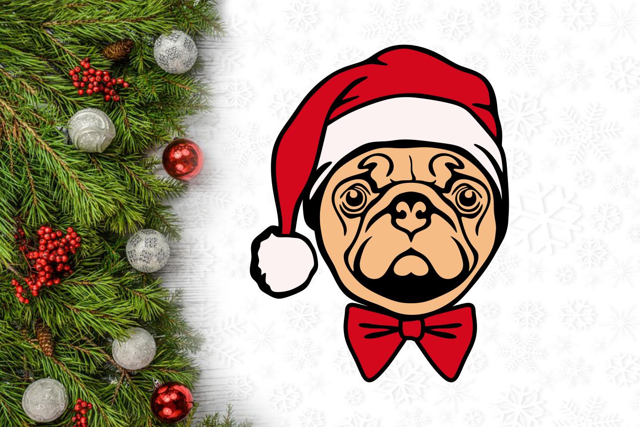 Christmas Dog Pug Santa Hat Svg Design By Agsdesign