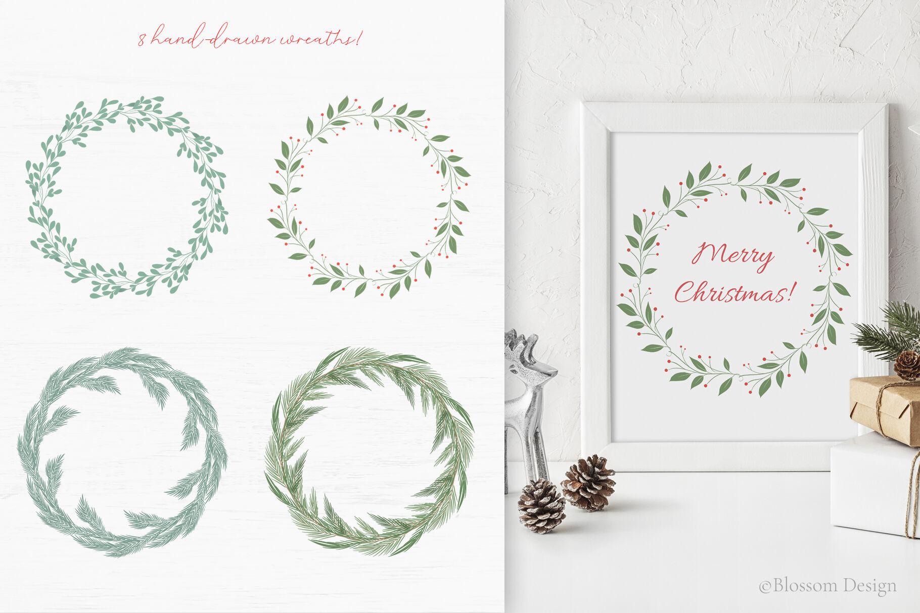 Merry Christmas Collection By Blossom Design Thehungryjpeg Com