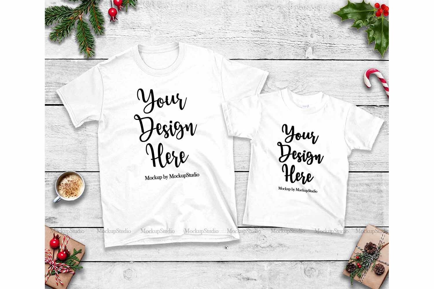 Christmas Matching Family Tshirt Mockup Bundle Mommy And Me By