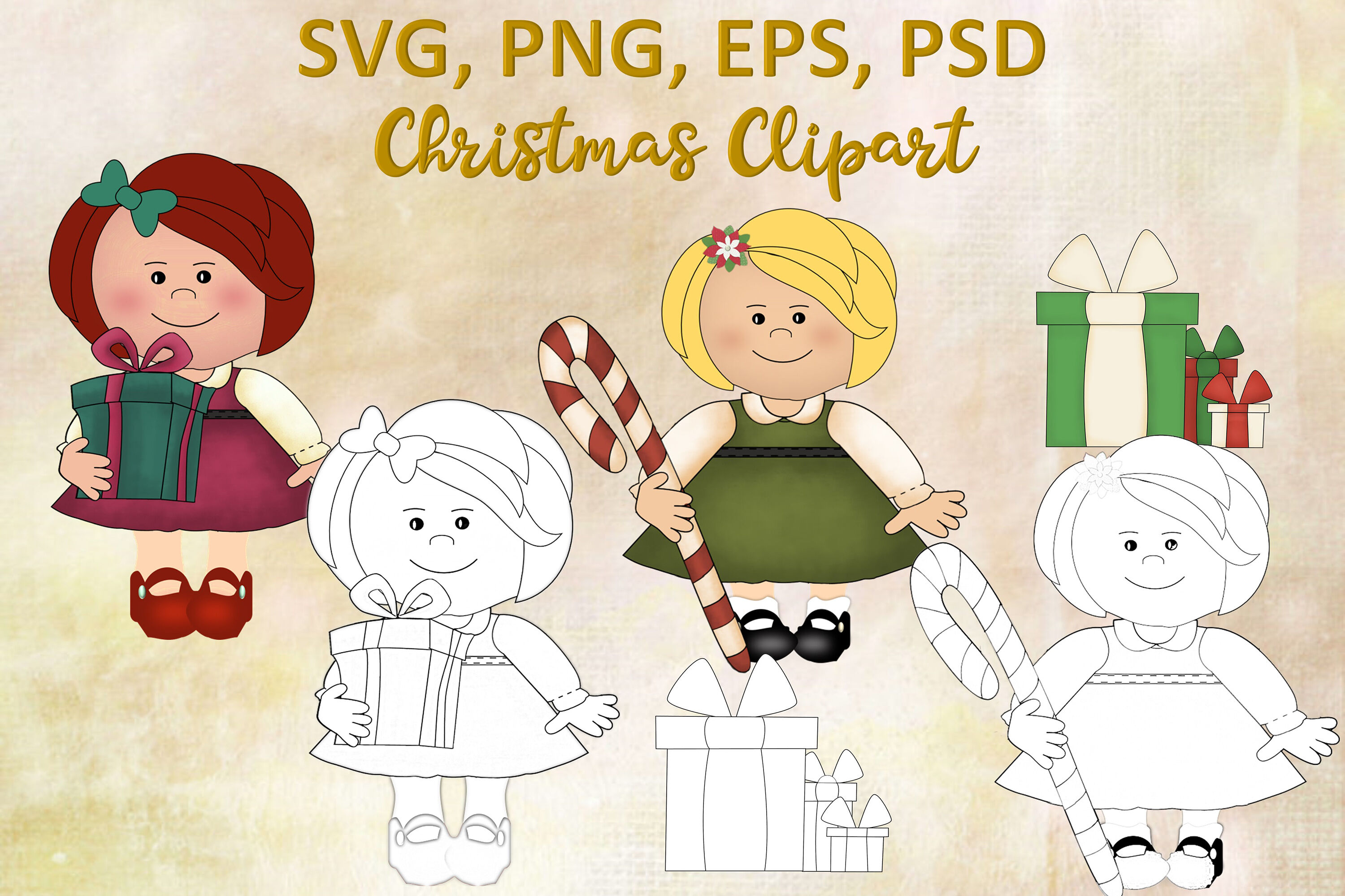 Christmas Clipart And Colouring Pages Svg Psd Eps And Png By The