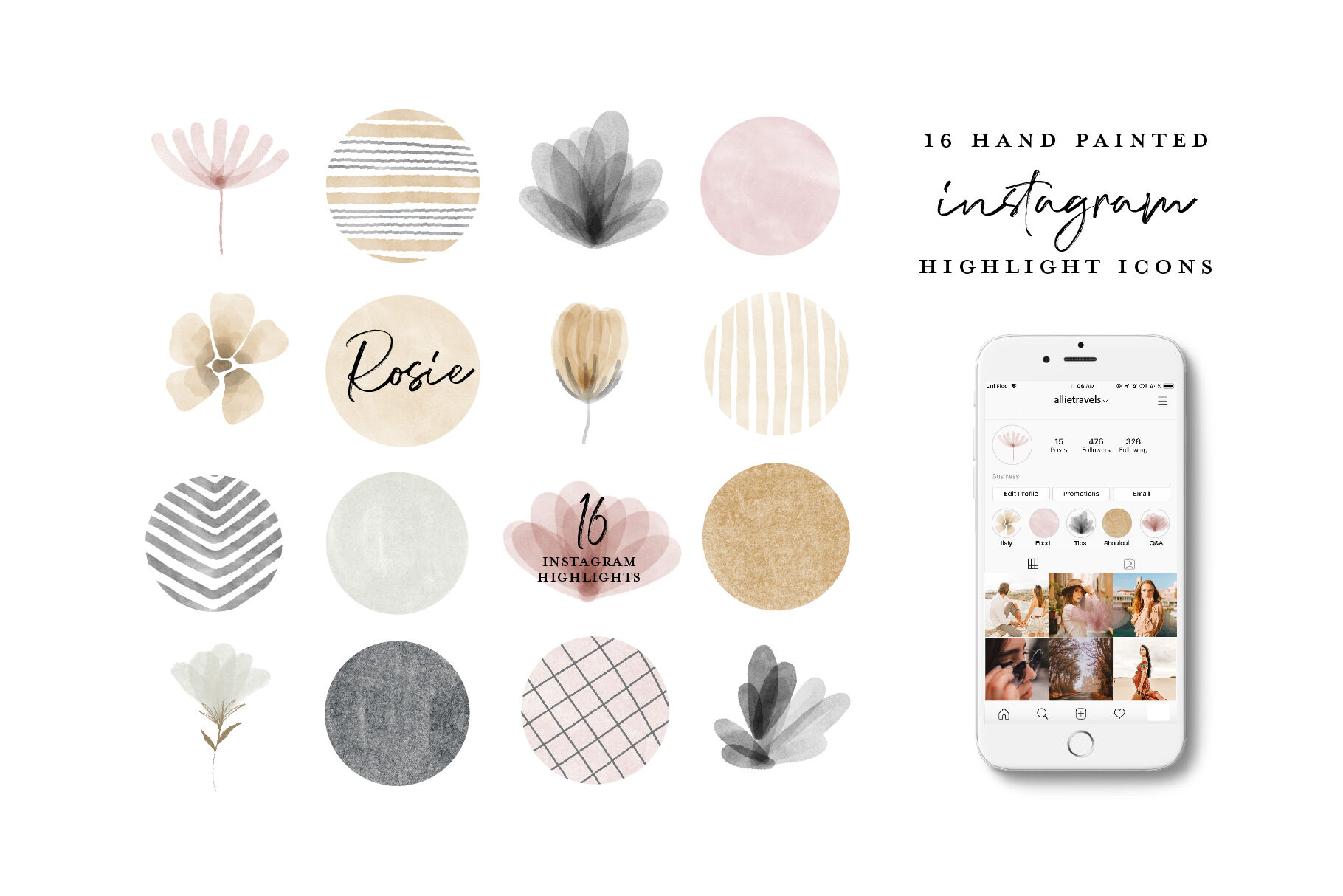 Watercolor Instagram Highlight Icons By Beatrice Avenue
