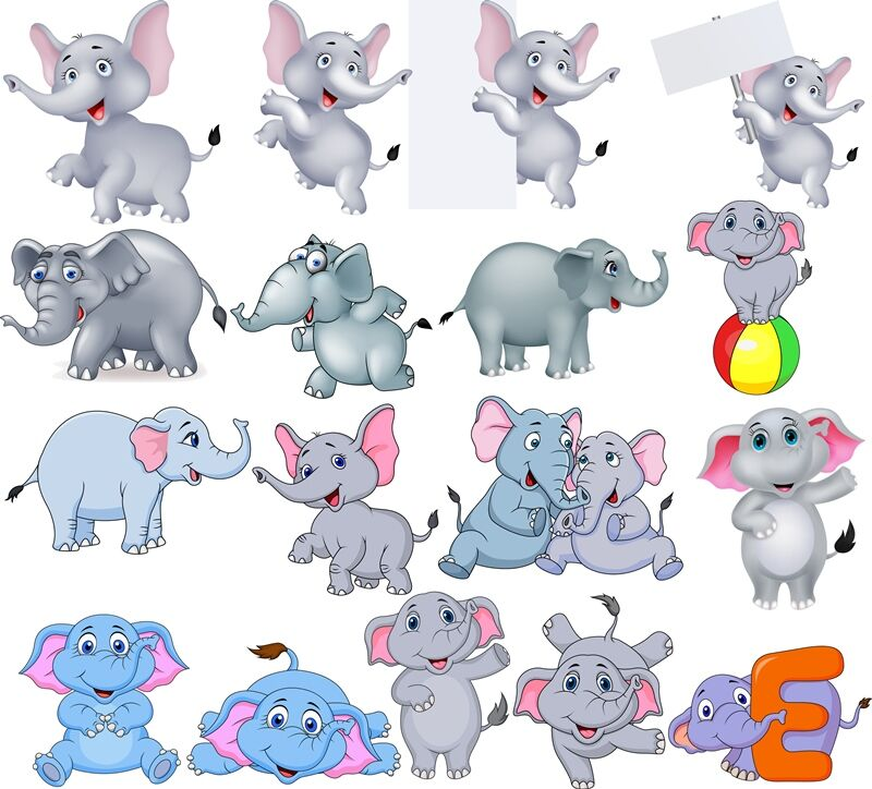 Cartoon Elephants Collection By Tigatelu Thehungryjpeg Com