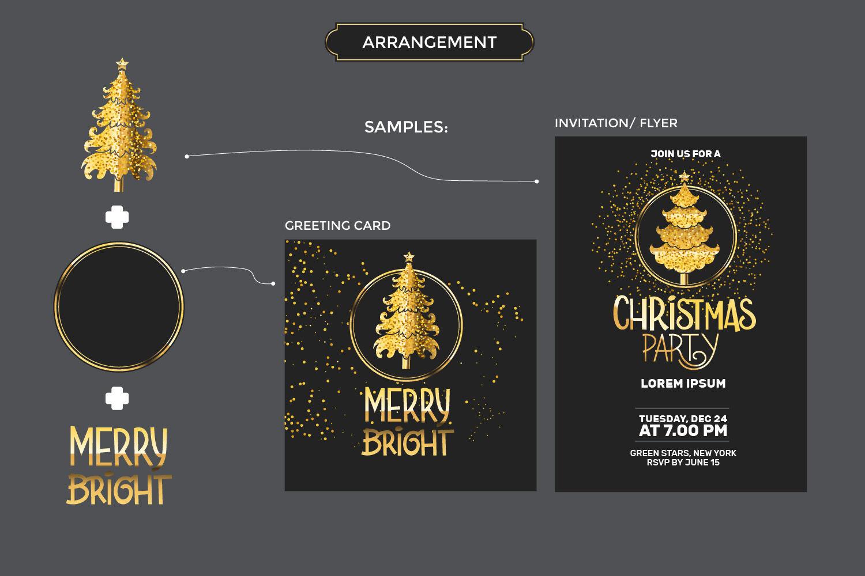 Gold Christmas Tree Set By Illusatrian Thehungryjpeg Com