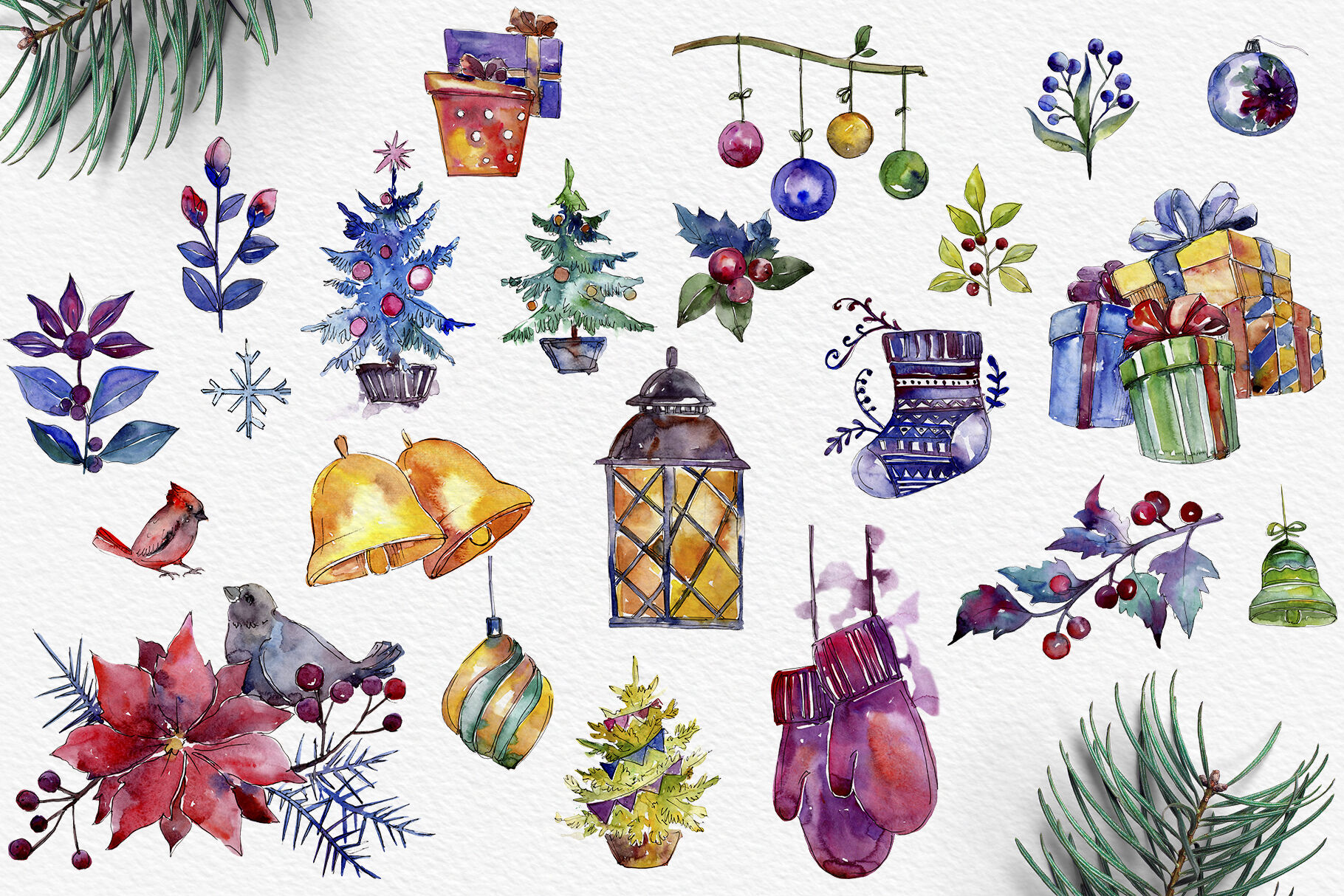 Set Of Illustrations Christmas Miracle Watercolor Png By Mystocks