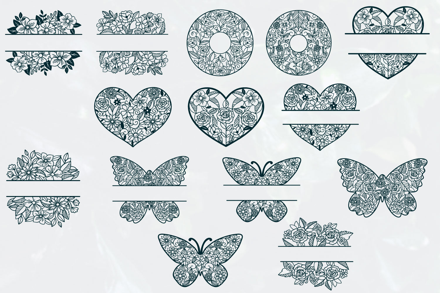 Love Floral Papercut Bundle 14 Svg Cut Files By Tatiana Cociorva