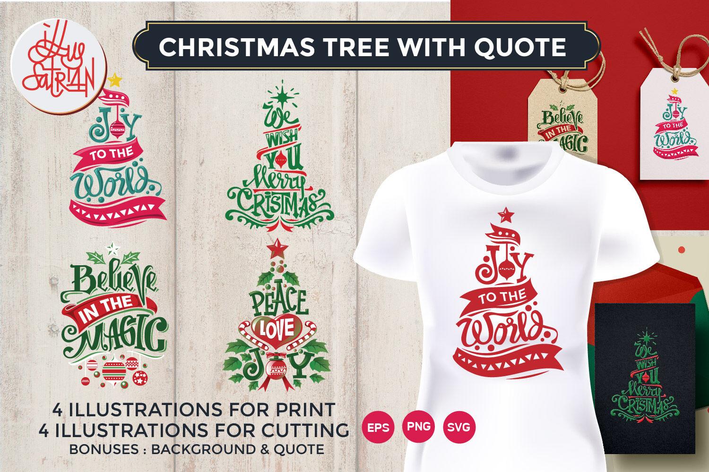Christmas Tree With Quote By Illusatrian Thehungryjpeg Com