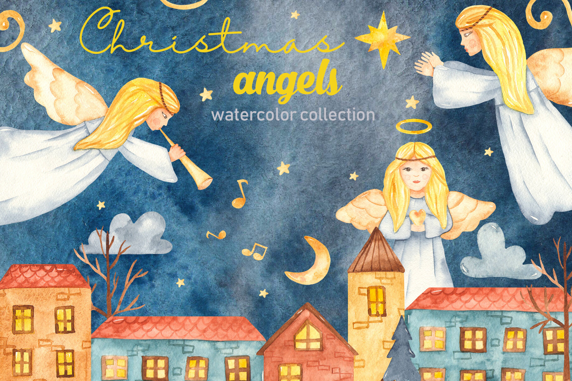 Christmas Angels Watercolor Clipart By Marina Ermakova