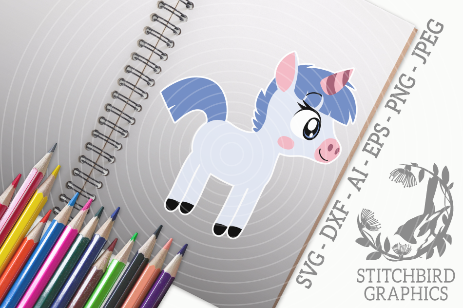 Cute Unicorn 3 Svg Silhouette Studio Cricut Eps Dxf Ai By