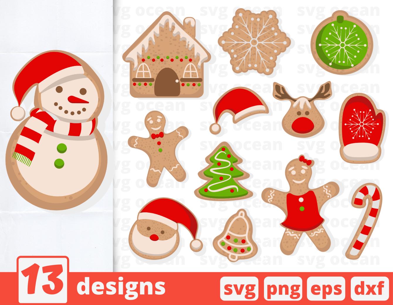 Gingerbread Svg Bundle Christmas Cookies New Year Santa