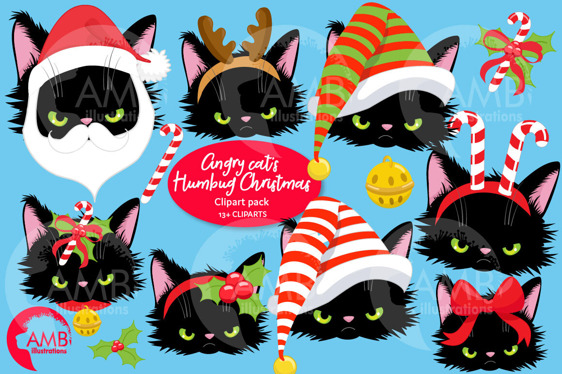Angry Cat Christmas Face Wearing Hats Amb 2693 By Ambillustrations