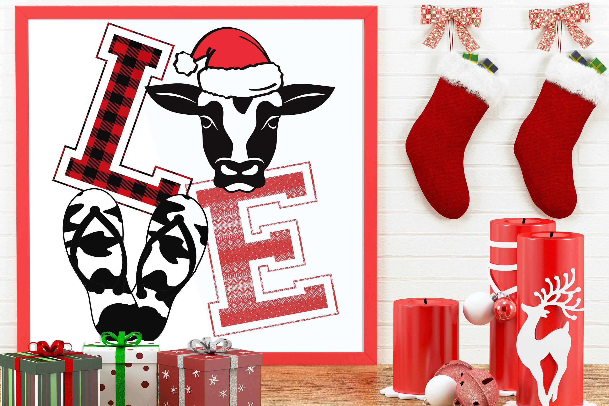 Flip Flop Love Christmas Cow Clipart By Mimi Dana S Crafty