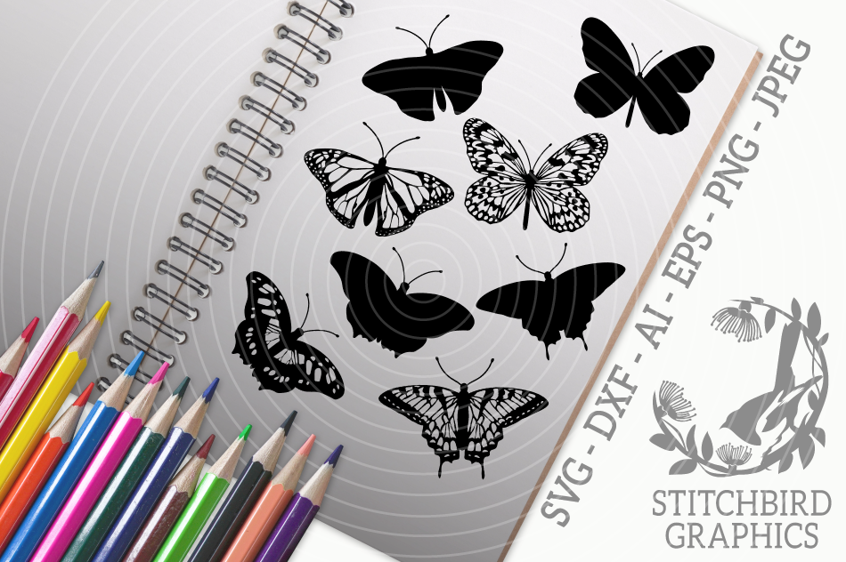 Butterfly Bundle Svg Silhouette Studio Cricut Eps Dxf By
