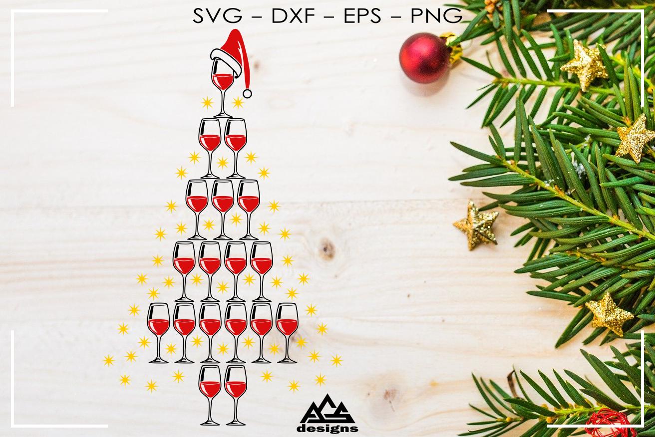Wine Glass Christmas Tree Svg Design By Agsdesign Thehungryjpeg Com