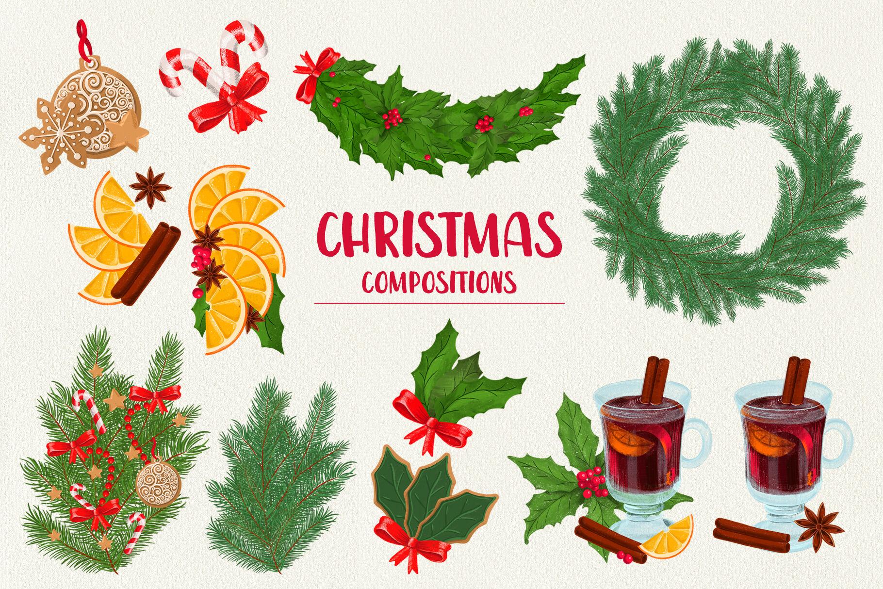 Christmas Digital Illustration Set By Kite Shop Thehungryjpeg Com