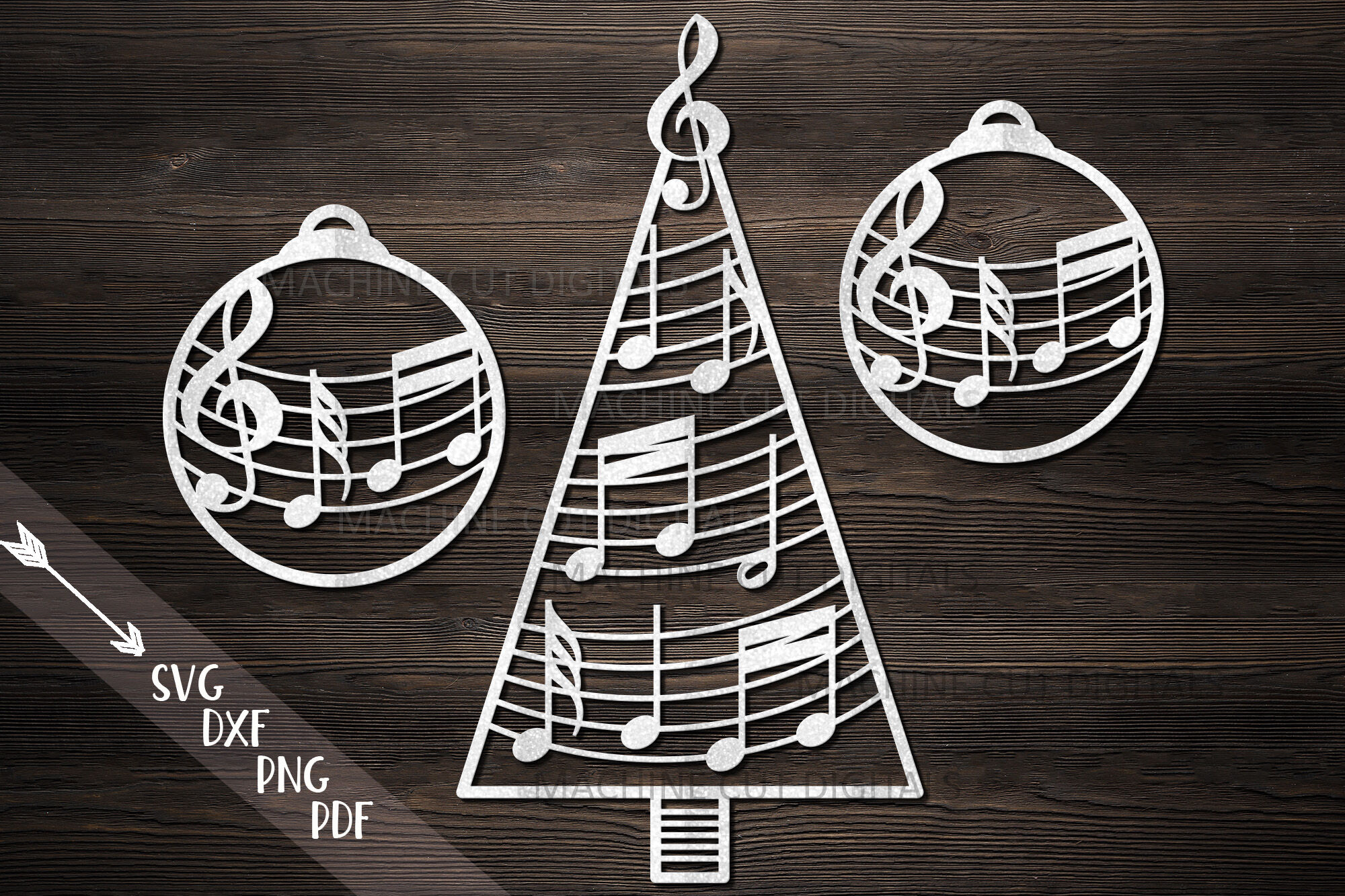 Christmas Tree Decorations With Music Notes Svg Cut Files By