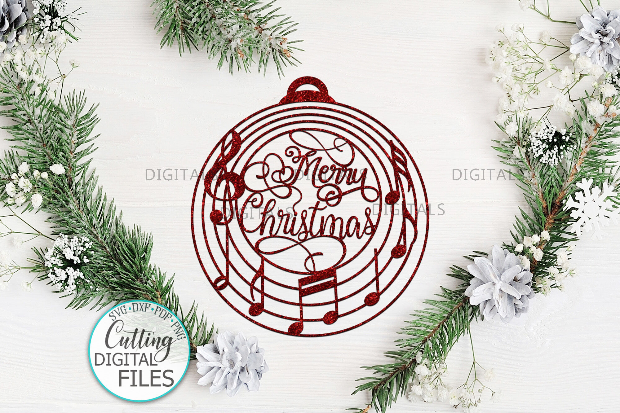 Christmas Ornament Bauble Ball With Music Notes Svg Cut File By