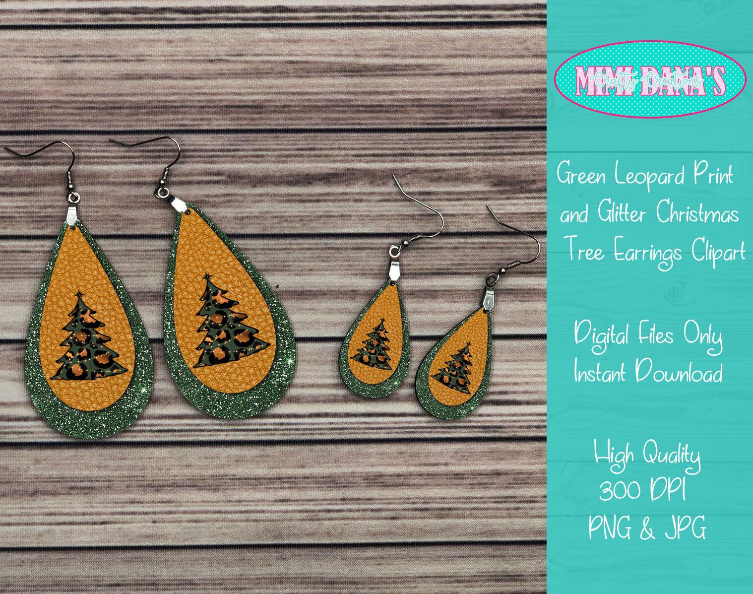 Green Leopard Print and Glitter Christmas Tree Earrings ...