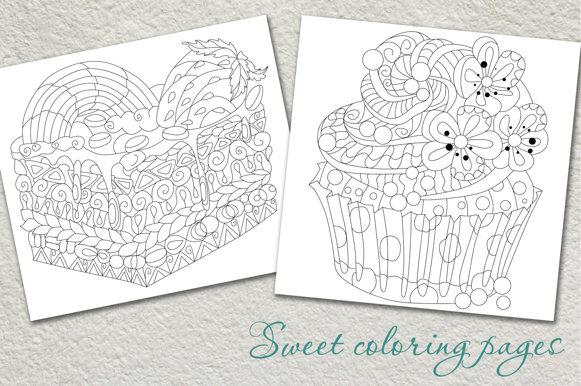 Zentangle Cakes Color And Outline Set By Watercolor Fantasies