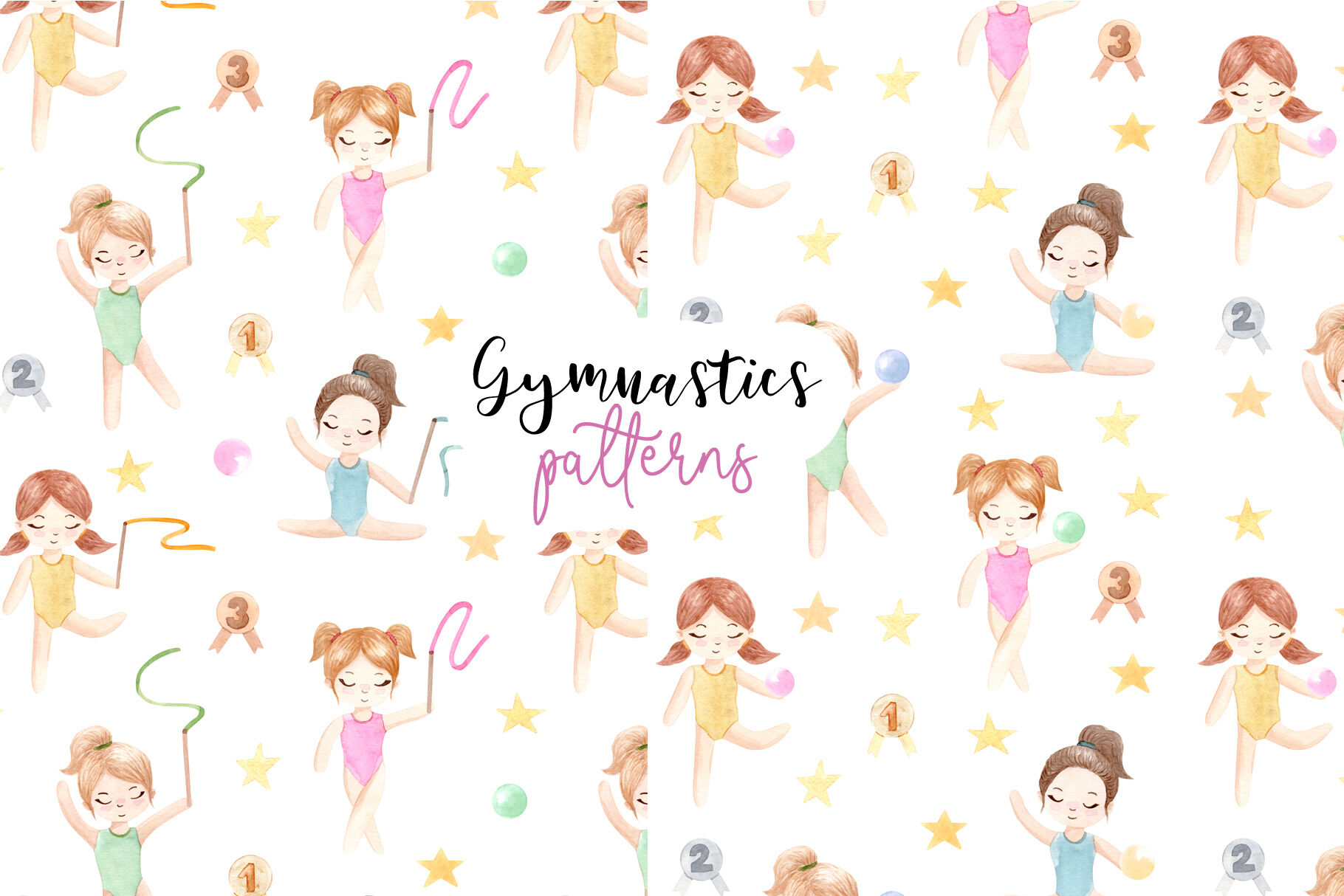 Watercolor Gymnastic Girls Patterns And Cliparts By Slastick