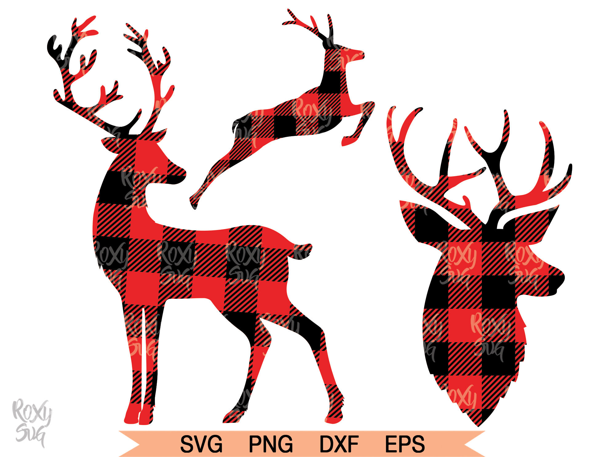 Reindeer Svg Reindeer Clipart Deer Svg Deer Png Plaid Deer Svg