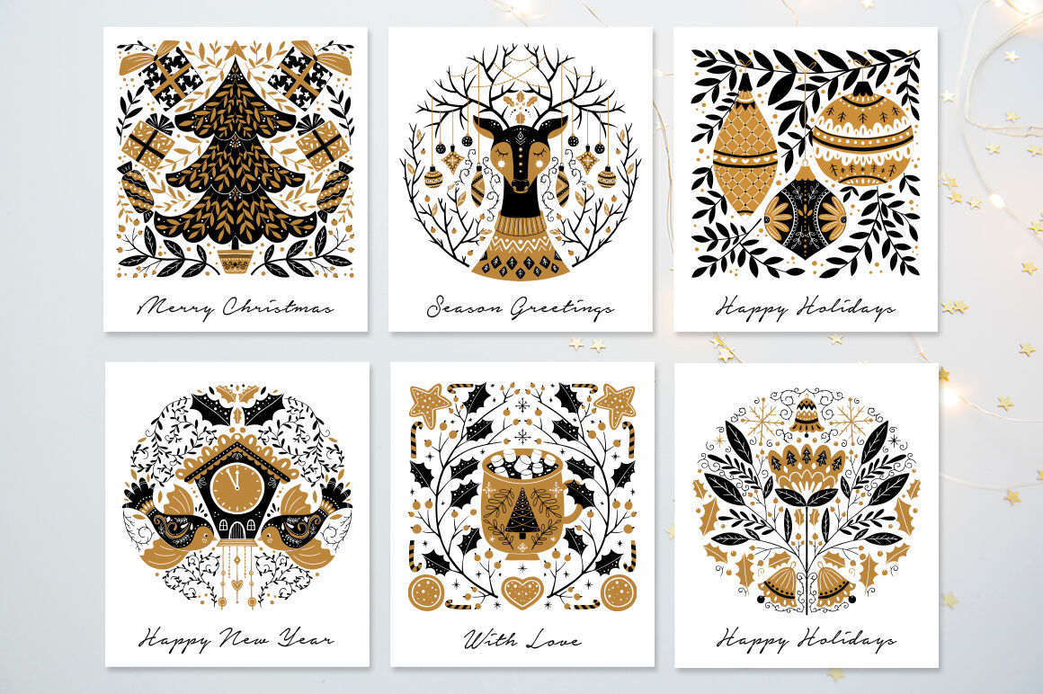 Gold Christmas Folk Art Collection By Darismartart Thehungryjpeg Com