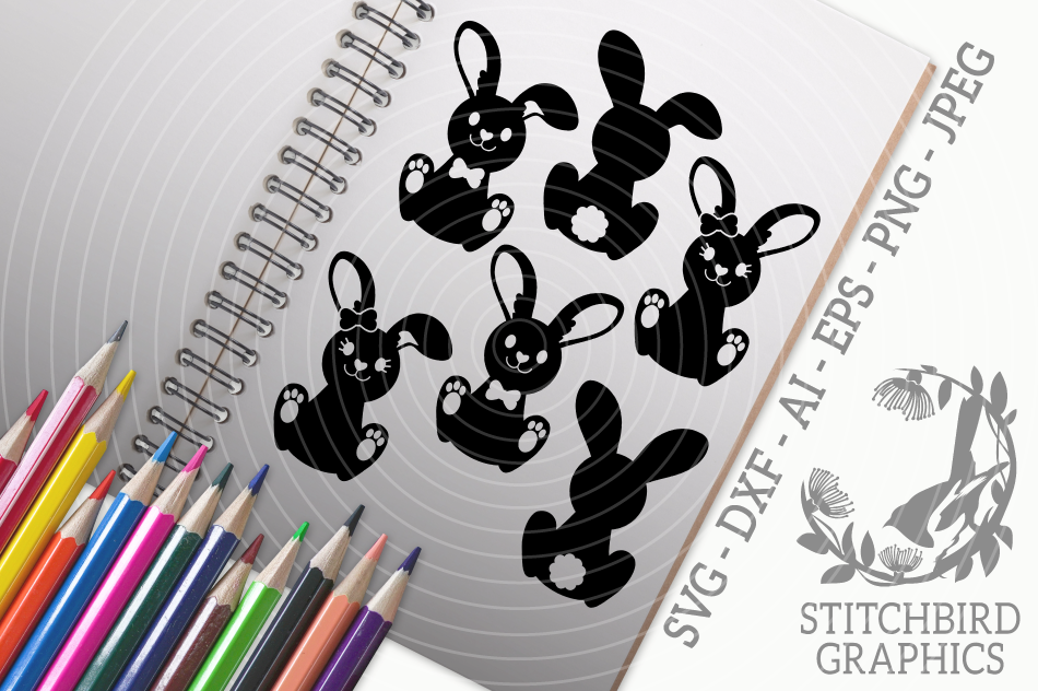 Easter Bunnies Svg Silhouette Studio Cricut Eps Dxf Png By
