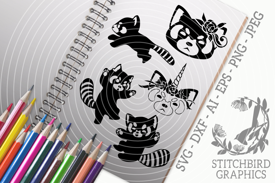 Cute Red Pandas Bundle Svg Silhouette Studio Cricut Eps By