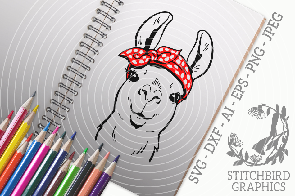 Llama Bandana Svg Silhouette Studio Cricut Eps Dxf Ai Png By