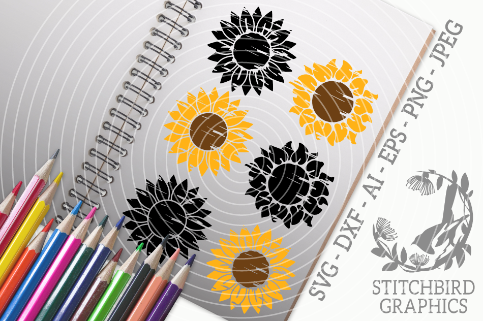 Distressed Sunflower Bundle Svg Silhouette Studio Cricut By