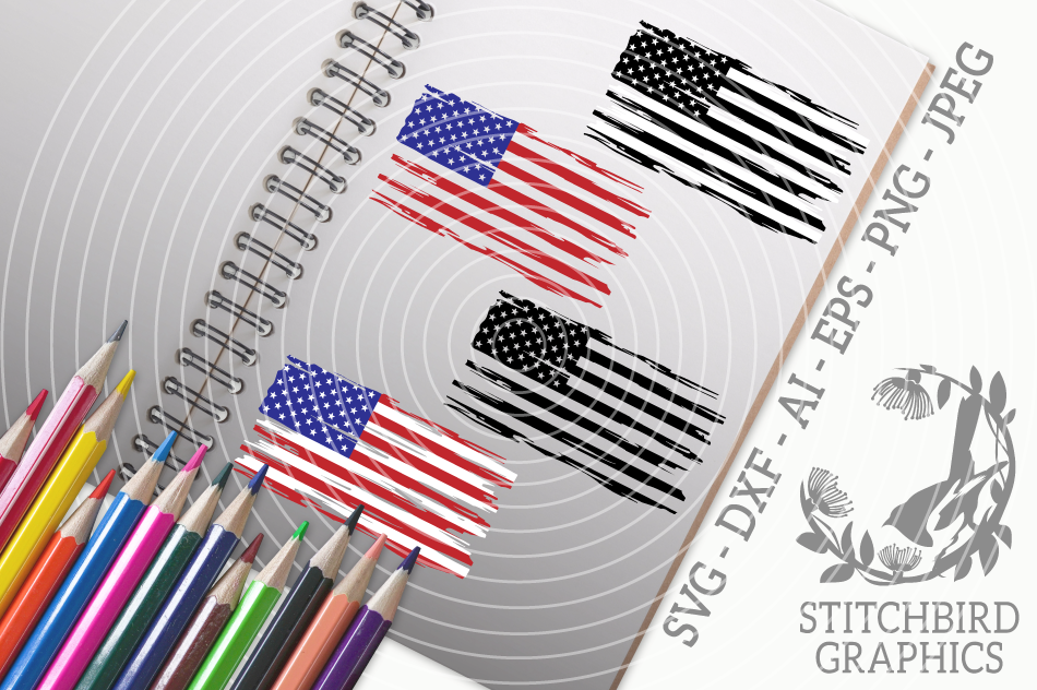 Distressed American Flag Bundle Svg Silhouette Studio By