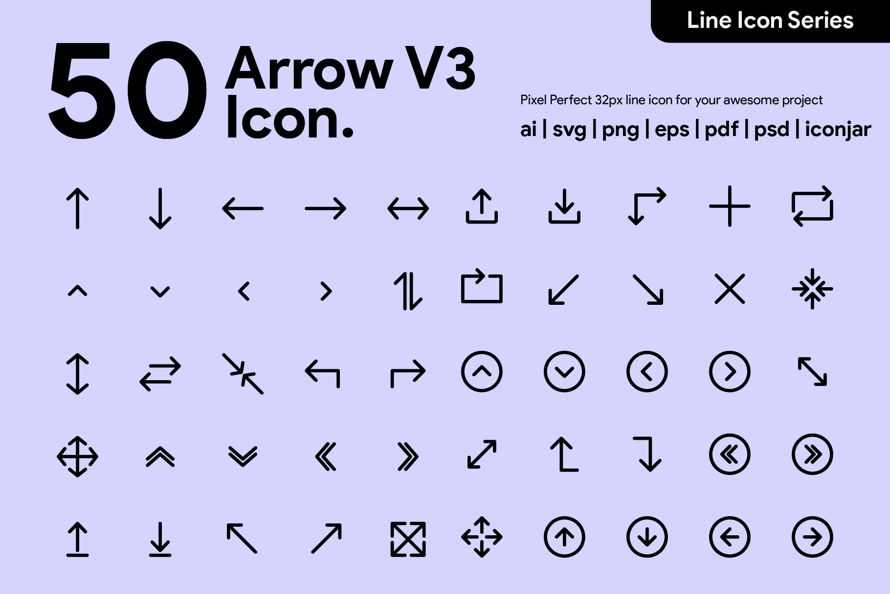 50 Arrow Line Icon V2 By Kawalanicon Thehungryjpeg Com