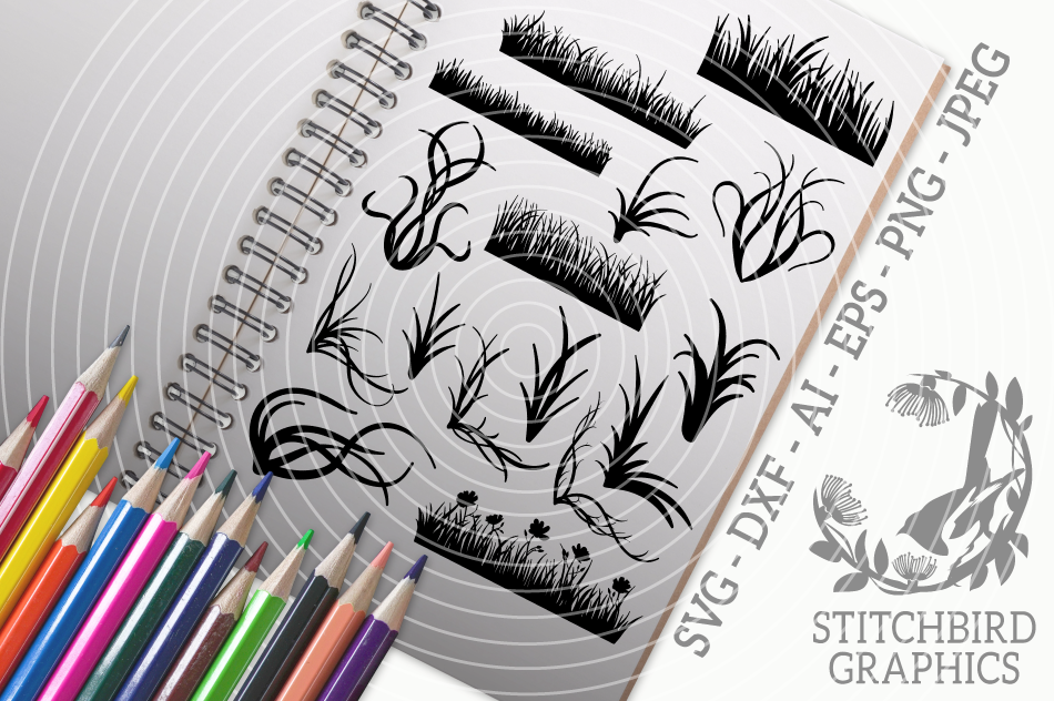 Grass Bundle Svg Silhouette Studio Cricut Eps Jpeg Png By