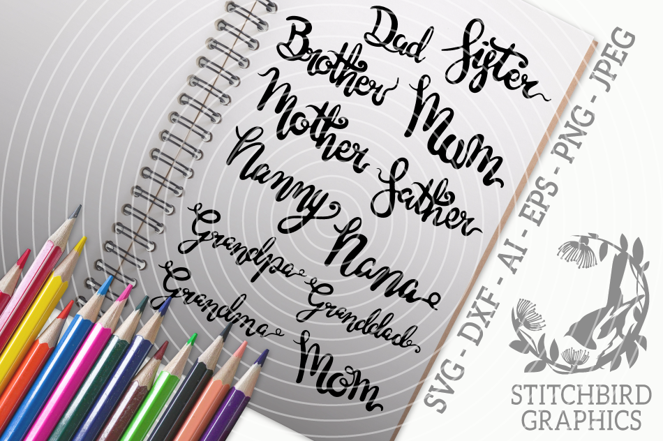 Family Titles Svg Silhouette Studio Cricut Eps Dxf Ai By