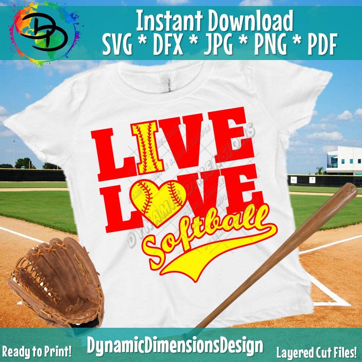 Softball Svg Bundle Live Love Softball Softball Clipart